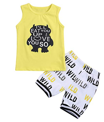 Baby Boys Girl's Summer Cotton Sleeveless T-Shirt Vest+ Short Pants Clothes Outfit Set Yellow