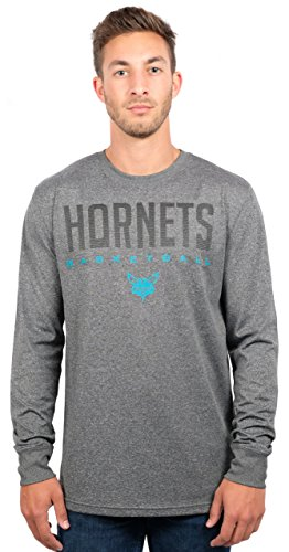 fan products of NBA Men's Charlotte Hornets T-Shirt Performance Long Sleeve Pullover Tee Shirt, X-Large, Gray