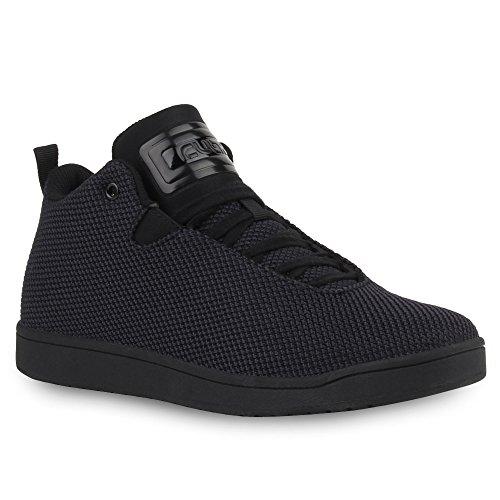 Stiefelparadies Unisex Baketballschuhe Damen Herren Sportschuhe Cultz Schuhe Muster Lack Sneakers Metallic Sneaker Flandell Schwarz