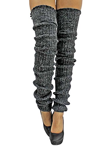 (Charcoal Slouchy Thigh High Knit Dance Leg Warmers)