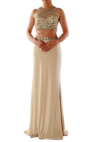 MACloth Women Mermaid Two Piece Jersey Long Prom Dress Formal Evening Party Gown Turquesa