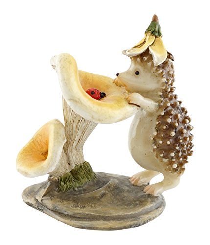 Top Collection Miniature Fairy Garden and Terrarium Hedgehog with Ladybug Statue ()