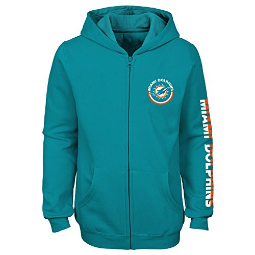 Outerstuff NFL Miami Dolphins Youth Girls Brilliant Full Zip Fleece Hoodie, Aqua, Youth Medium(10-12)