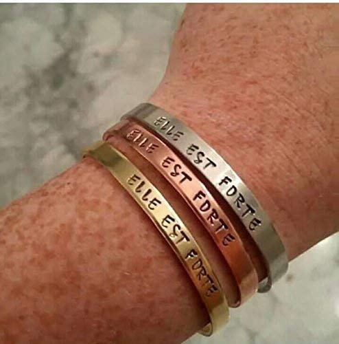 Elle Est Forte Cuff Brass Copper or Aluminum Bracelet Inspirational Jewelry