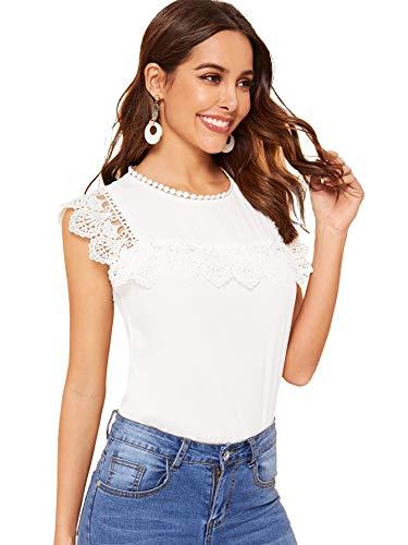 [해외]SheIn 여성의 여름 민소매 레이스 쉬폰 작업 탱크 블라우스 탑 셔츠 / SheIn Women`s Summer Sleeveless Lace Chiffon Work Tank Blouse Top Shirt