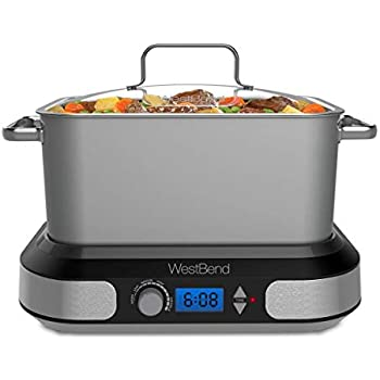 West Bend 87966 Versatility Slow Cooker, 6-Quart, Silver