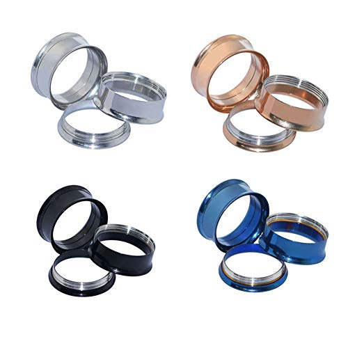 Stainless Steel Flesh Tunnel - D&M Jewelry 4 Pairs Stainless Steel Screw Expander Flesh Tunnels Body Piercing Gauge 4g