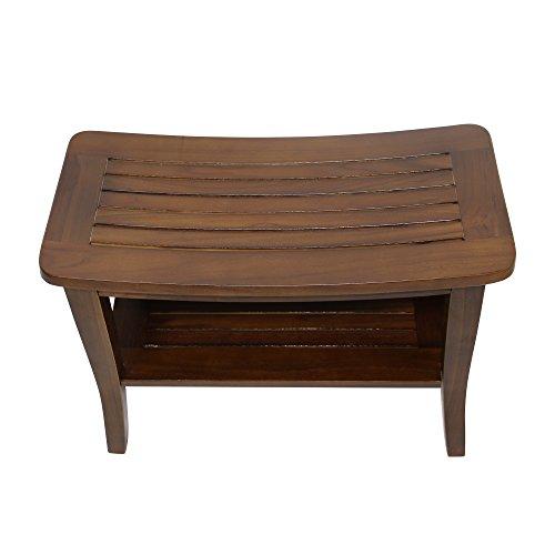 Ala Teak Waterproof Shower Bath Spa Bench Stool with Shelf ()