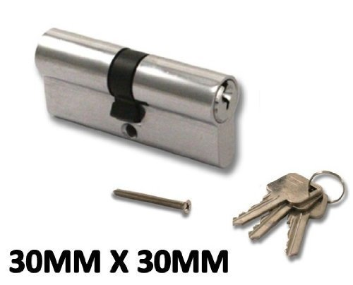 Euro Cylinder Locks Door Barrel - 30mm X 30mm - Chrome - UPVC, Aluminium, Composite, Patio