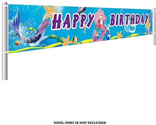 Colormoon Large Mermaid Happy Birthday Banner, Mermaid Party Supplies Decorations, Mermaid Under The Sea Birthday Party Decor (9.8 x 1.5 -