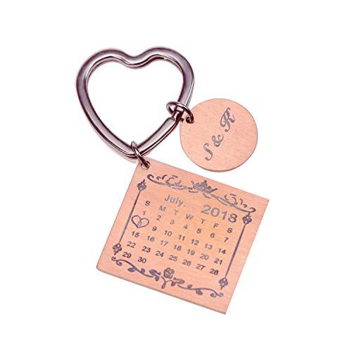 Personalised Custom Engraved Calendar Date Engraved Stainless Steel Keyring & Keychain Memorial Wedding Gift (Heart)