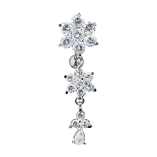 Pierced Owl Round CZ Crystal Flower Top Down Dangling Belly Button Ring in Titanium