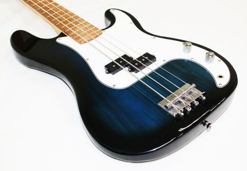 Crescent Electric Bass Guitar Blueburst Starter Kit (Includes CrescentTM Digital E-Tuner)