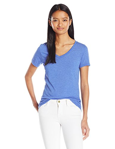 French Toast Juniors Short Sleeve V-Neck Tee, Princess Blue Heather, S Womens V-neck Heather