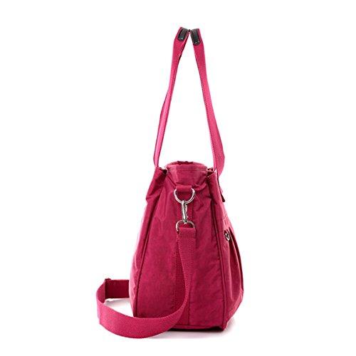 Resistant Large 2012 Pockets Totes Chou Bag Nylon Crossbody Water Lightweight Shoulder with Tiny Burgundy Bag 7OPRtnSq7