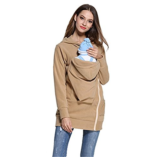 NeuFashion Baby Wearing Carrier Hoodie Jacket Sweater Sweatshirt For Spring Autumn Khaki Large