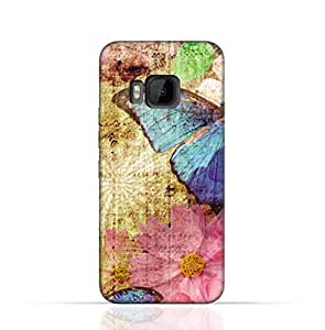HTC M9 TPU Silicone Case with Vintage Butterfly Pattern