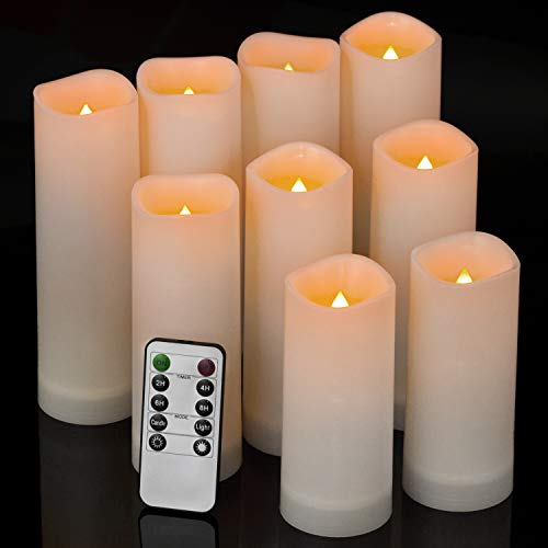 comenzar Flameless Candles Waterproof Outdoor Indoor led Candles Set of 9 (H 5