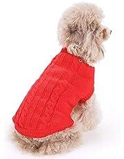 FAMI Cute Pet Clothes, European Classical Pet Sweater, Turtleneck Dog Sweater with Classic Aran Knit