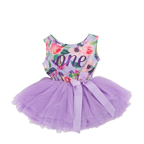 Grace & Lucille Hand Printed Baby Birthday Dress (1st Birthday) (6-12 Months, Purple Floral Sleeveless, Purple) (Birthday Wishes For Baby Girl 1st Birthday)