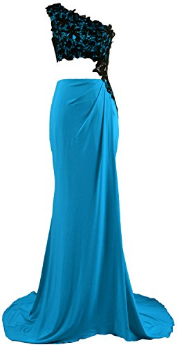 MACloth Women 2 Piece Prom Dress Lace One Shoulder Jersey Formal Evening Gown Azul