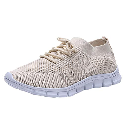 Sneakers for Women,Women's Running Shoes Flying Weaving Socks Shoes Sneakers Casual Shoes Beige ()
