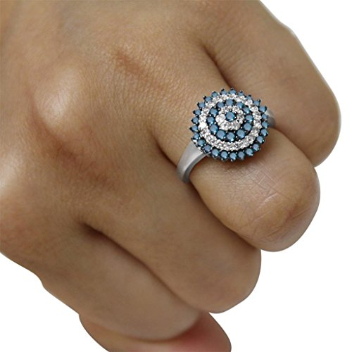 1 CTTW Blue and White Diamond circle Ring in 10KT Gold