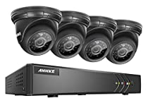 Annke 4CH 720P HD-TVI Security DVR System and (4) Outdoor Dome Cameras with IP66 Weatherproof Day/Night Vision & Motion Detection-No HDD