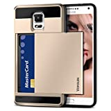 Galaxy S5 Case, Vofolen(TM) Hybrid Armor Galaxy S5 Wallet Case Shock Absorption Rubber Soft Bumper Cover Anti-Scratch Protective Shell with Slide Card Holder Slot for Samsung Galaxy S5 (Champagne)