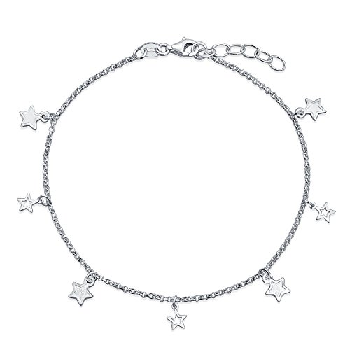 Patriotic Multi Star Dangle Rolo Chain Anklet Charm Ankle Bracelet 925 Sterling Silver Adjustable 9 to 10 Inch ()