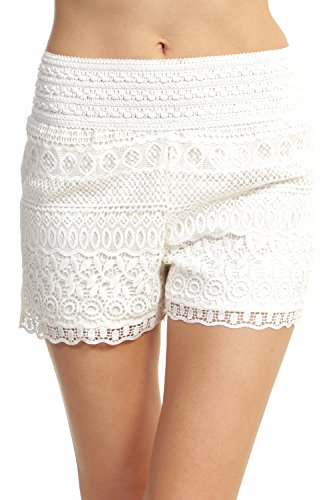 ToBeInStyle Women's Cross-Over Lace Shorts - Off-White - Large
