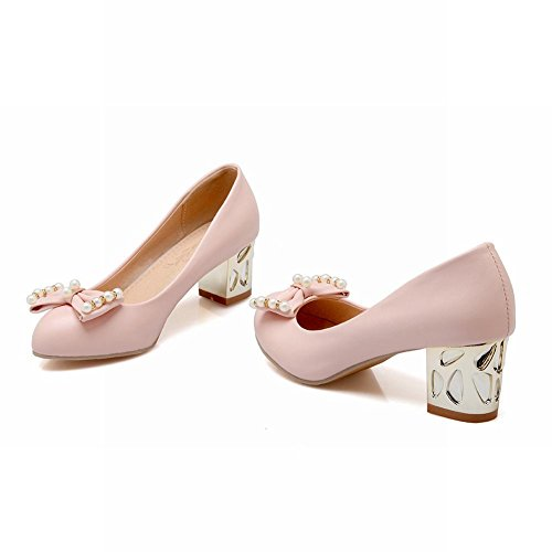 Carolbar Women's Fresh Sweet Bow Beaded Mid Heel Court Shoes Pink h6UQVj2