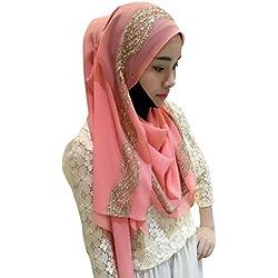 Ababalaya Womens' Chiffion Fashion Hijab Scarf Shawl (Pink)