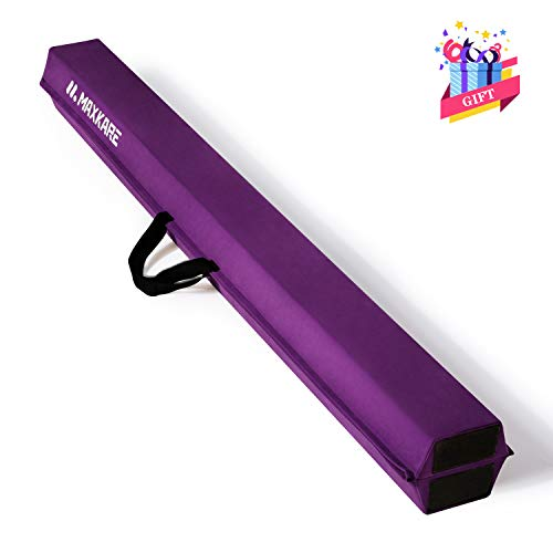 MaxKare Balance Beam 9FT Gymnastics Beam Foldable Balance Beam Gymnastic for Kids with Grip Suede Anti-Slip Base Gymnastics Beam for Home (Purple)