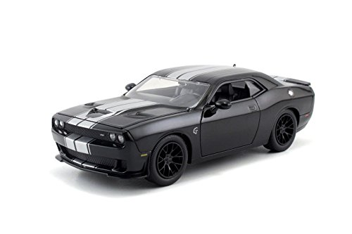 Jada Big Time Muscle 2015 Dodge Challenger SRT Hellcat 1/24 Scale Diecast Model Car Black With Silver Stripes (Display Version No Retail Box) Version Diecast Car Model