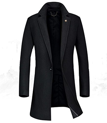 Men's Warm Wool Trench Coat Long Fashion Slim Fit Winter Overcoat Single Breasted (X-Small, Black) by JEWOSOR