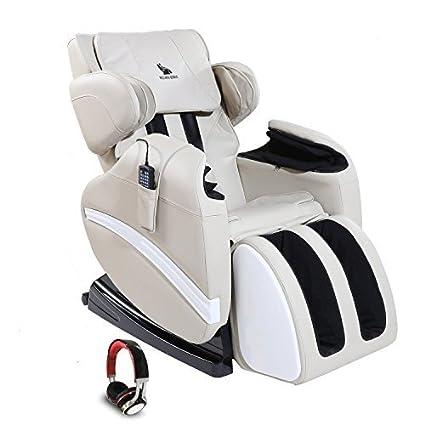 SUNCOO Full Body Shiatsu Massage Chair Recliner W Heat Stretched Foot Rest WHITE