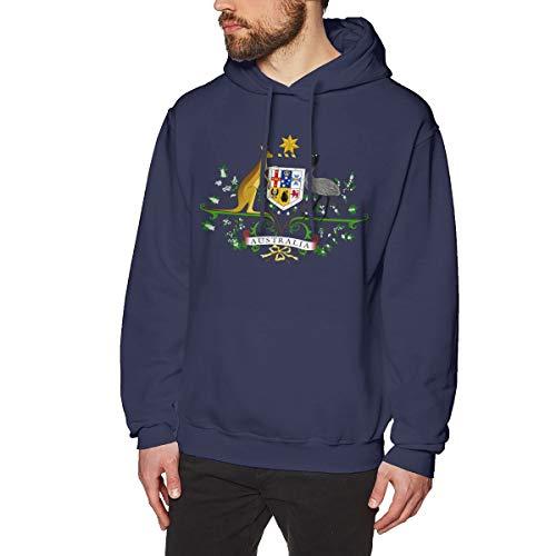 (X-JUSEN Men's Coat of Arms of Australia National Emblem Hoodies Sweatshirt Pullover Sweater, Long Sleeves Hooded Costumes)