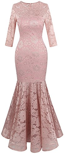 Angel-fashions Women's Floral Lace Long Sleeve Mermaid Bodycon Wedding Dress Medium Light Pink