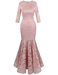 Angel-fashions Women's Floral Lace 3/4 Sleeve Mermaid Bodycon Wedding Dress