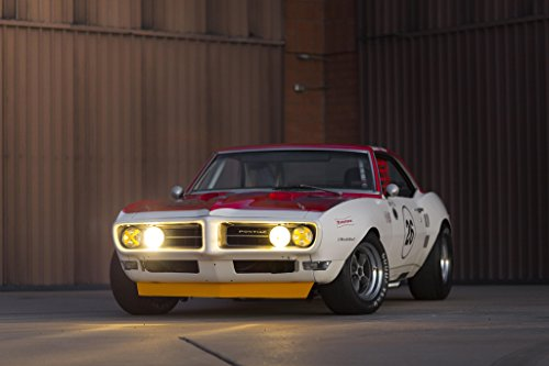 1968 Pontiac Trans Am - Pontiac Firebird Trans Am Race (1968) Car Print on 10 Mil Archival Satin Paper White/Red Front Side Static View 16