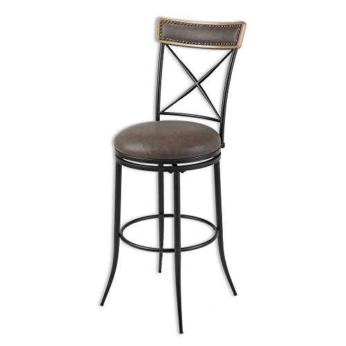 Fashion Bed Group Boise Swivel Seat Bar Stool with Charcoal Finished Metal Frame, Wood Stain Seatback and Cocoa Faux Leather Upholstery, 30-Inch Seat Height For Sale