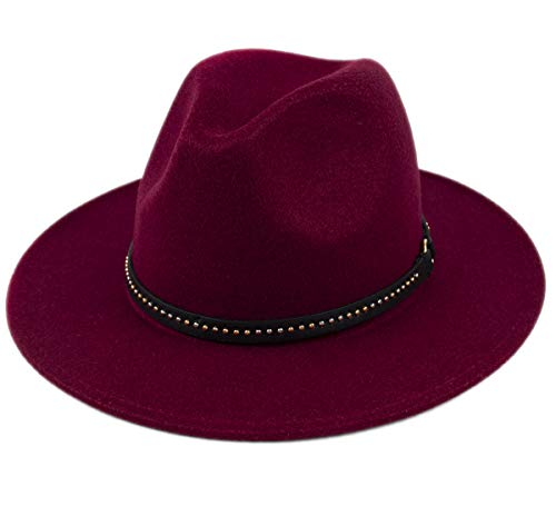 Classic Red Felt Hat - Lanzom Womens Classic Wide Brim Floppy Panama Hat Belt Buckle Wool Fedora Hat (One Size, Z-Wine Red)