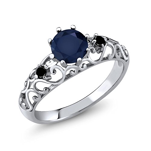 Gem Stone King 1.11 Ct Round Blue Sapphire Black Diamond 925 Sterling Silver Ring (Size 7)