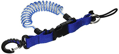 Phantom Aquatics Quick Release Coil Lanyard with Clip and SS Split Ring, Blue ()