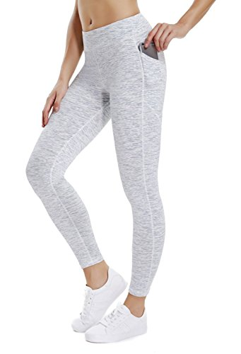 THE GYM PEOPLE Compression Yoga Leggings for Women, Heart Shape Workout Pants with Pocket Super Power Flex Fabric (Large, 12/White)