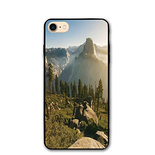 Haixia iPhone 7/8 Shell 4.7 Inch Yosemite Valley and Half Dome in Foggy Morning During Romantic Sunrise Scenery Full Green Beige