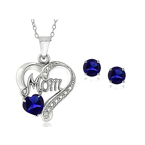 Sterling Silver Simulated Blue Sapphire & Simulated Diamond Accent Heart Mom Necklace Earring Set ()