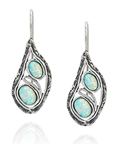 925 Sterling Silver Teardrop Earrings with Two Created White Opals Elegant Unique Design Women's Jewelry