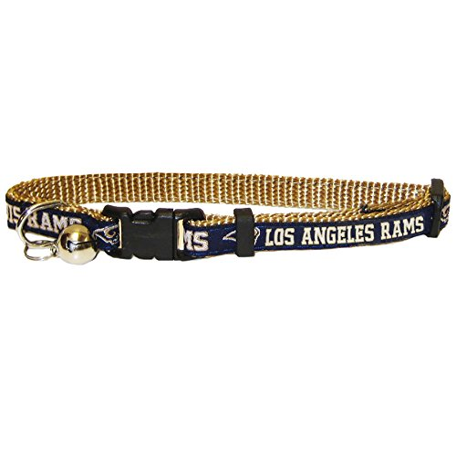 NFL CAT COLLAR. - ST LOUIS RAMS CAT COLLAR. - Strong & Adjustable FOOTBALL Cat Collars with Metal Jingle Bell